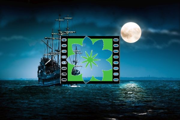 Sailing ghost ship on the high seas in the night. Flying Dutchman by the Moon light