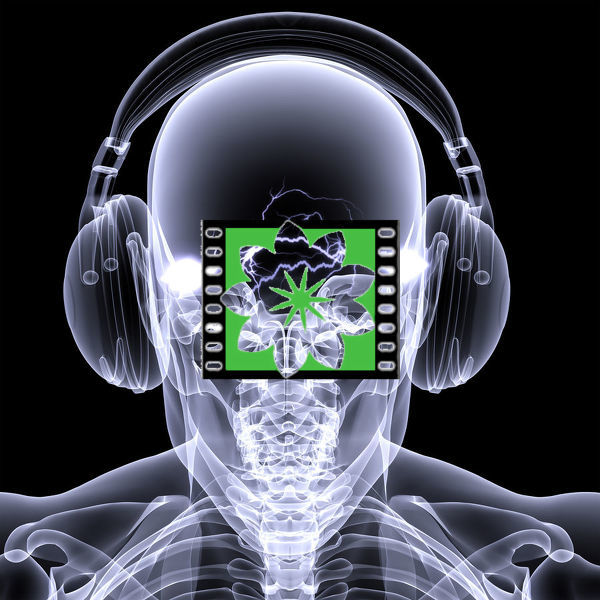 Skeleton X-ray DJ: An X-ray of a male skeleton DJ wearing headphones with electric activity in his head.   Isolated on a black background
