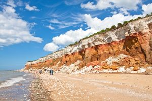 panorama of the layered cliffs at Hunstanton